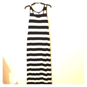 Forever 21 navy/white striped tank maxi dress
